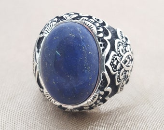 925K sterling silver mens ring with  with lapis lazuli  stone