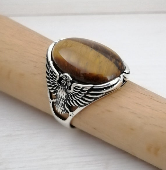 925K Sterling Silver American Eagle  Mens Ring Witht Malachite Stone,free express shipping