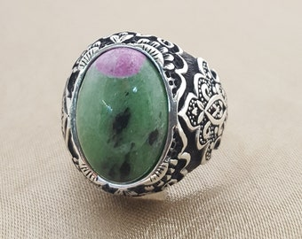 925K sterling silver mens ring with  with rubyzoite  stone