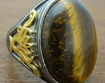 Most Beautiful 925K Sterling Silver Tiger Eye Men's Ring