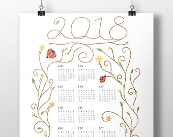 2018 Ladybug Calendar Poster, 11x17, Wall Calendar, Year-at-a-glance, Illustration, Pastel Colored Calendar