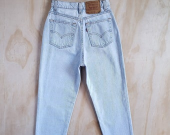 52e867b1 Vintage Levi's 512 High Waist Slim Fit Tapered Leg Jeans in Pale Light  Wash, Item#0133
