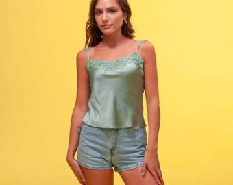 8df5087ece49 80s 90s Silk Lace Camisole Tank Top, Vintage 100% Silk Silk Lace Cami, Size  Small