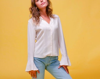 2c7ede6ffb48ca Size Small 80s 90s 100% Silk Button Up Bell Sleeve Blouse in Ivory