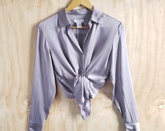 73062ecc721ccd Size XS 90s Liquid Silk Button Up Blouse in Silver Moonlight