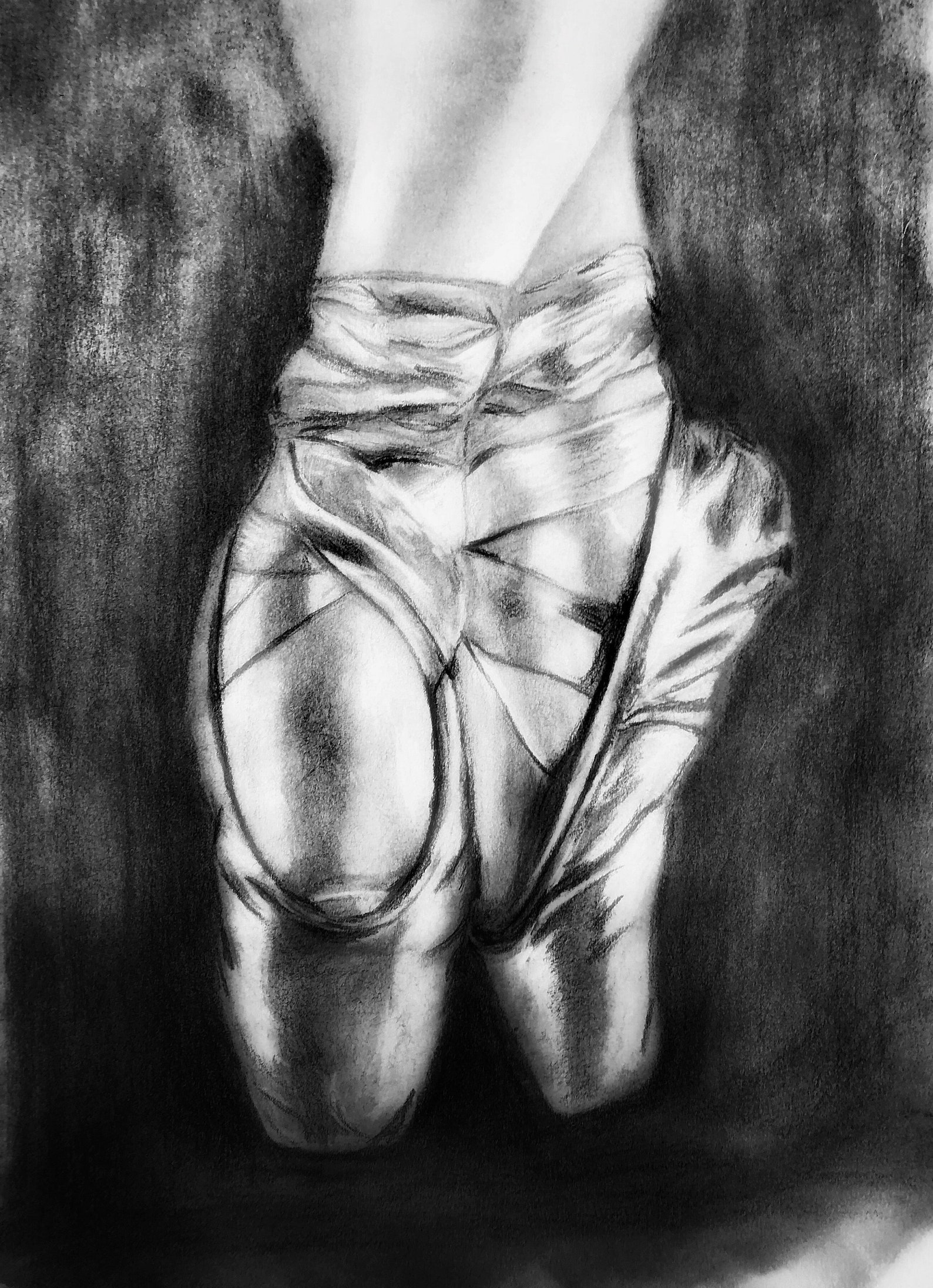 dance, ballet, pencil, graphite, drawing, pointe, 8x10, charcoal, original, artwork, girls room, dancer, shoes, handmade, teache