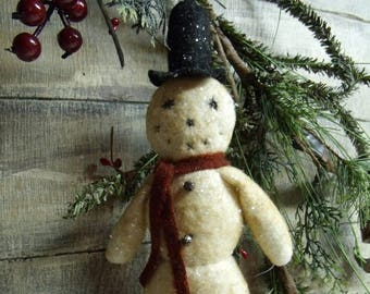 primitive snowmanprimitive christmasvintage style snowman ornamentchristmas tree ornamentfrostycotton battingmica flakesold fashioned - Primitive Christmas Tree Decorations