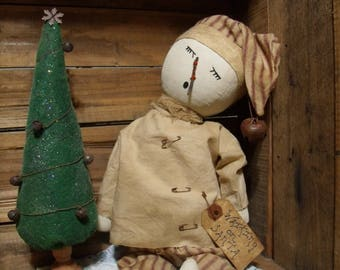 primitive snowmanprimitive christmas dollchristmas treehandmade primitive dollwaiting on santasnowman dollsleeping snowman - Primitive Christmas Tree Decorations