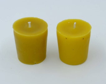 Beeswax, votive candles, raw beeswax candle, beeswax votives, set of 2, made with unfiltered wax