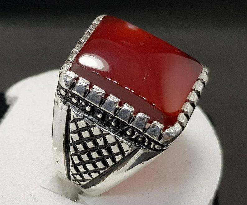 Mens Aqeeq Ring Shifat al abad Carnelian Real Agate Ring AKik Handmade 925 Sterling Silver Ring Red Carnelian Aqeeq Ring Red Yemeni aqeeq