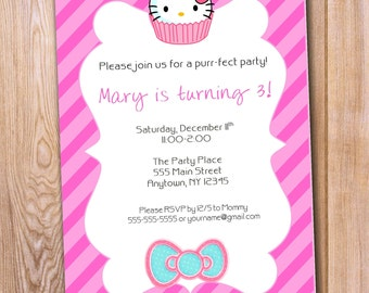 Hello Kitty Birthday Invitation, Hello Kitty Digital Invitation, Hello Kitty Printed Invitations