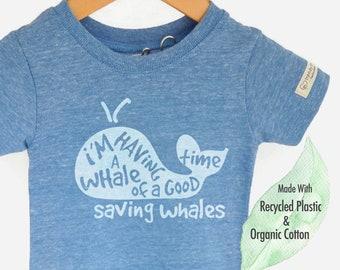 Kids Whale Shirt, Save the Ocean Organic, Save the Whales, Environmental Shirt, Ocean Shirt, Whale Birthday, Save Ocean, Organic Kids Tshirt