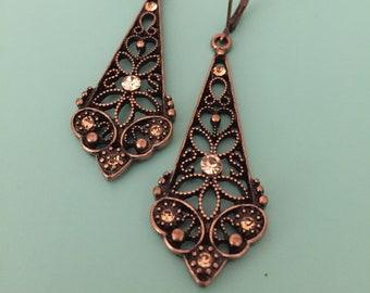 Vintage Earrings/ Copper Earrings/ Dangle Earrings/ Art Deco Earrings/ Rhinestone Earrings/ Filigree Earrings/ Boho Earrings