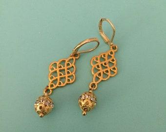Gold Earrings/ Dangle Earrings/ Crystal Earrings/ Art Deco Earrings/ Boho Earrings/ Filigree Earrings/ Statement Earrings/ Bridesmaid Gift