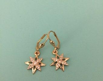 Vintage Earrings / Dangle Earrings / Snowflake Earrings / Art Deco Earrings / Statement Earrings / Star Earrings / Gold Earrings