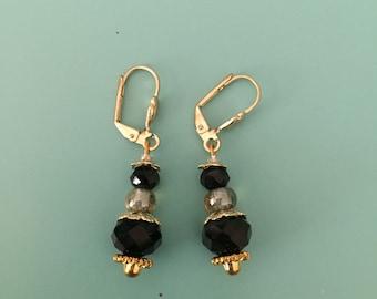 Dangle Earrings / Gold Earrings / Black Earrings / Jewelry Set / Green Earrings / Boho Earrings / Art Deco Earrings / Statement Earrings