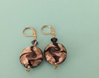 Gold Earrings/ Dangle Earrings/ Black Earrings/ Crystal Earrings/ Art Deco Earrings/ Statement Earrings / Boho Earrings/ Bridesmaid Gift