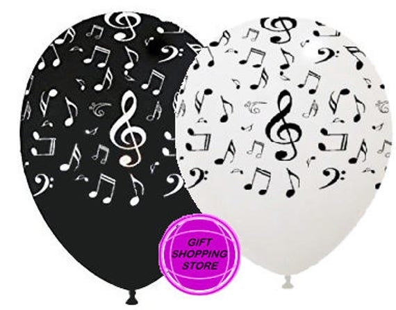 12 MUSIC NOTES ASSORTED LATEX BALLOONS MUSICAL NOTE THEMED PARTY DECORATIONS