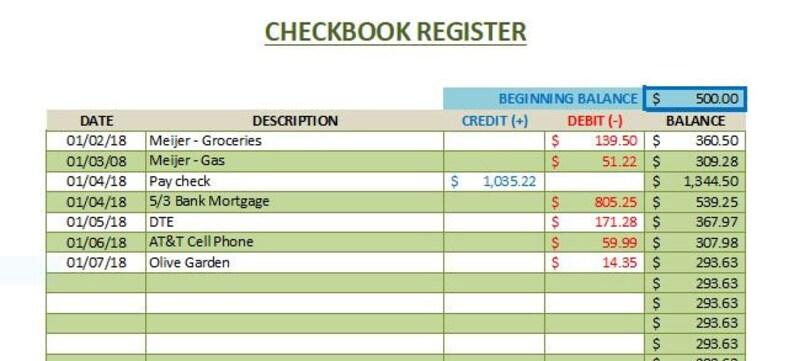 Checkbook Register Excel Form Instant Download | Etsy