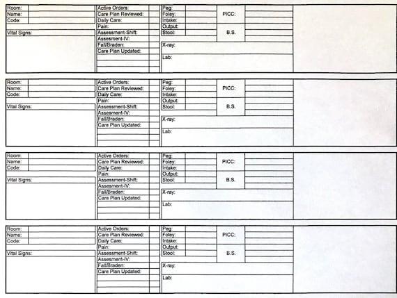 Nursing Report Sheet Shift To Shift Daily Nursing Worksheet