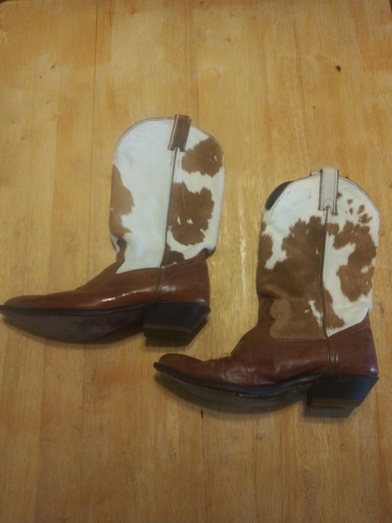 Code west cow print leather boots 8m