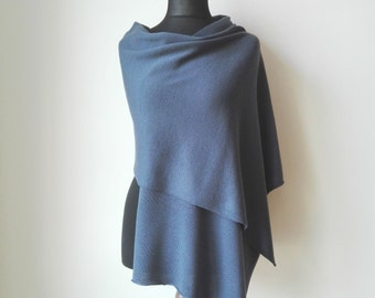 Cashmere scarf Bleu grey merino scarf shawl Wool scarf Knit merino wrap scarves Grey blue merino cashmere scarf