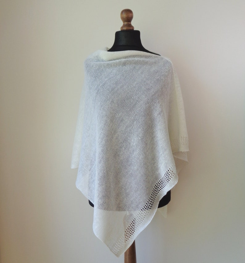 Ivory linen poncho Women poncho top Knit linen summer wrap  Natural linen knits summer poncho