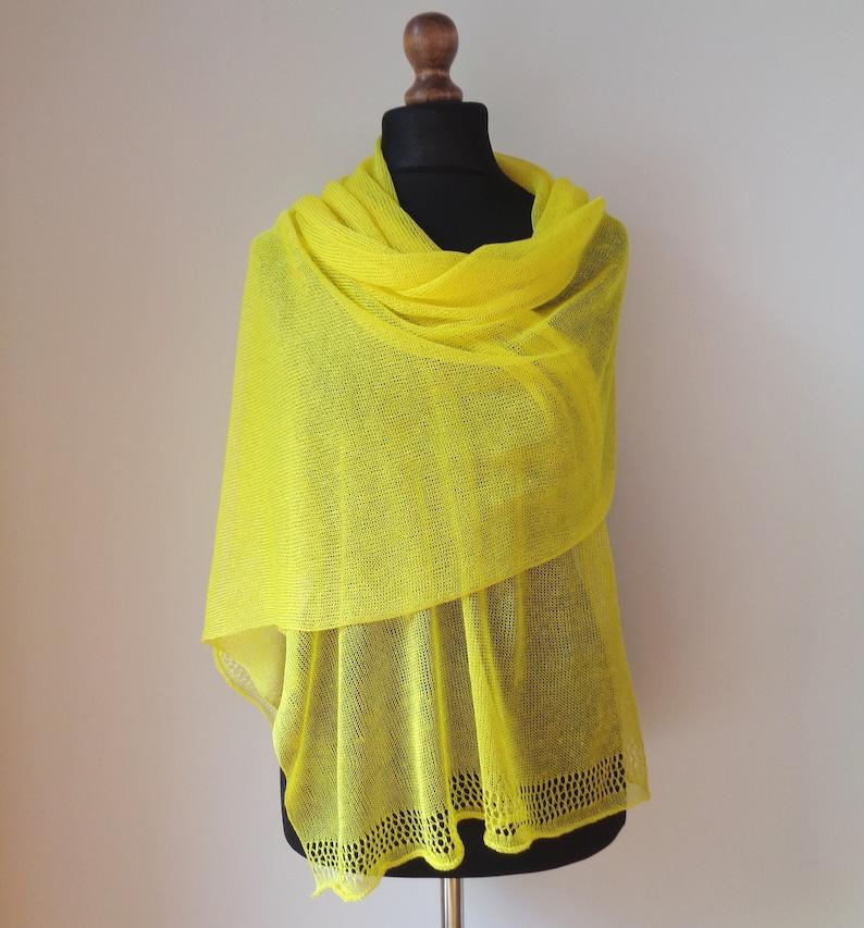 Linen shawl Bright orange scarf for woman Wedding knit summer shawl Neon orange scarf Bridal wrap Knitted natural linen scarf Shawl wrap