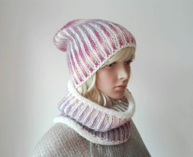 16fc99df44c Alpaca wool slouch beanie and snood set Pink winter snood
