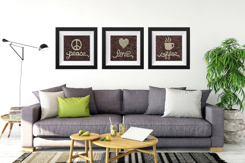 Coffee Beans Wall Art Set of 3 Love Prints Coffee Wall Decor image 0