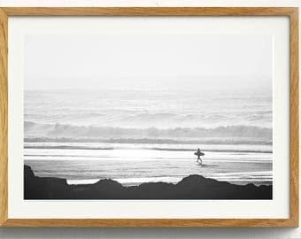 Two Black And White Surfer Digital Prints Surf Photo Ocean Beach Print // B&W Photo // Surfer // Two Prints // Ocean Beach Waves Surf Cali