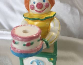 Avon Birthday Cake Topper Candle Holder  Clown ages 1-4 years  vintage 1983