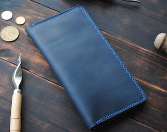 1c41195889 Woman Wallet Bifold - Clutch Wallet Leather - Long Wallet - Leather Wallet  women - Bifold Wallet With Coin Pocket - Blue Leather Wallet Men
