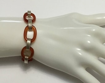 Turkish Sterling Silver and Carnelian Bracelet