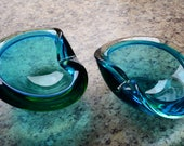 Mid century modern Murano Sommerso Pair of blue green lipped Glass Bowls 1960 oyster lip Modern home decor This listing includes a set