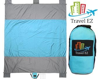 Outdoor Beach Blanket | Picnic Blanket by Travel EZ | 7 Feet X 9 Feet |Parachute Nylon Built In Sand Anchors & Zipper Pocket for Valuables