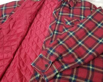 308bf6a876 Jahrgang Wald kariertes Flanellhemd Steppfutter Holzfäller großer 1 X rot,  blau