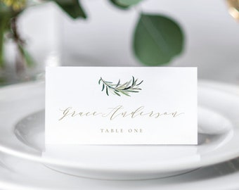 Greenery Place Card Template, Editable Place Card Template, Printable Place Card Template, Place Cards, Name Cards, Instant Download