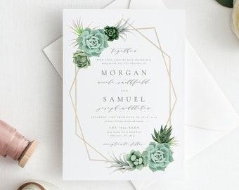 Succulent Wedding Invitation Template, Editable Wedding Invitation Suite, Printable Wedding Invitation Template, Wedding Invitation Suite