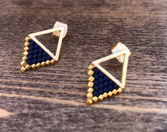Gold & Navy Blue Beaded Stud Earrings