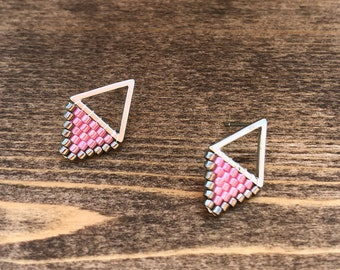Silver & Pink Beaded Stud Earrings
