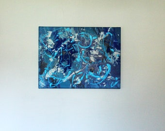 Blue Lagoon: Hand Painted Pour Canvas Wall Art Blue Ocean — 18 x 24 — Dorm — Home
