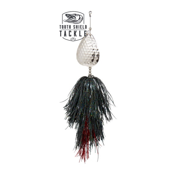 Black Tooth Shield Tackle Magnum Double 10 Musky Bucktail Muskie Lure Black
