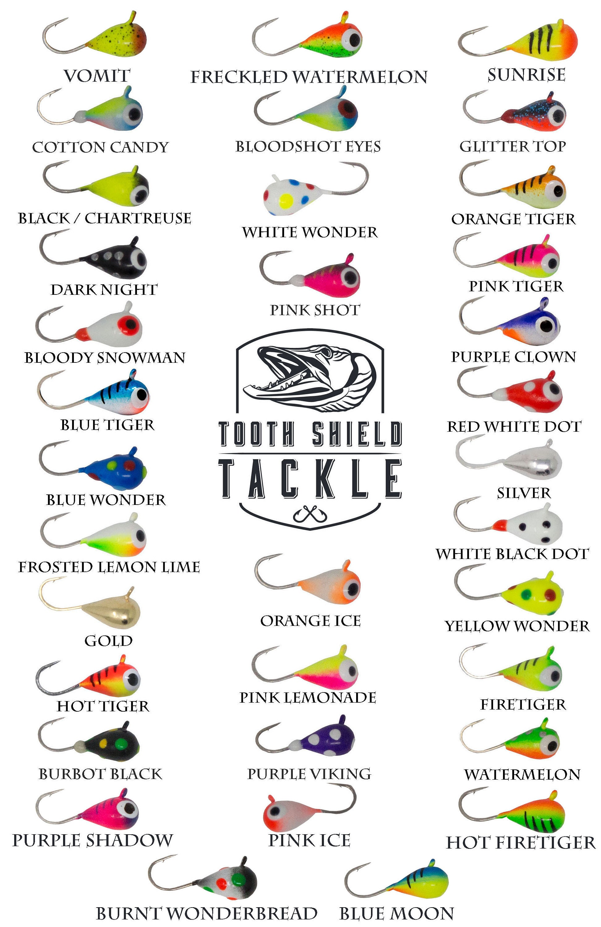 bullgill crappie Lot of 8 beautiful 5mm tungsten ice fishing jigs for perch