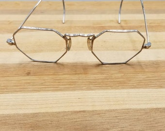 b7233528a558 Vintage Bausch and Lomb Octagon Art Deco 14K Gold Nose Pads Eyeglasses  Frames