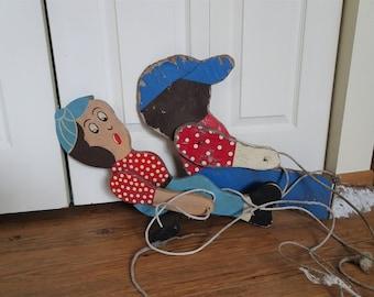 Wood boy girl swinging lawn ornament