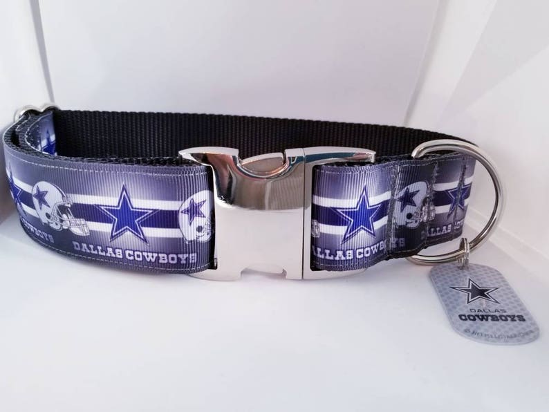 2eba7eaac Dallas Cowboys NFL Football 1.5 inch Wide Dog Collar with | Etsy