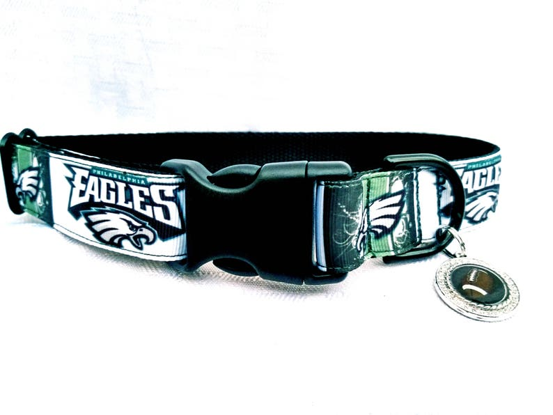 separation shoes b1a49 aa626 Philadelphia Eagles Dog Collar 1 inch wide Green and White with Rhinestone  Football Dog Tag. Matching Leash And Keychain Fob SOLD SEPERATELY