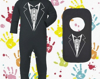 Baby Boys tuxedo sleepsuit outfit with matching bib perfect outfit for wedding party or special occasion