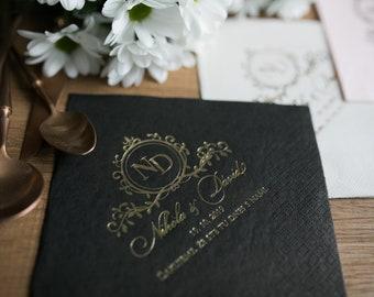 Personalized Napkins, Gold foil, Bedruckte Servietten, Custom Napkins, Wedding Napkins, Monogramed Napkins, Custom Napkins